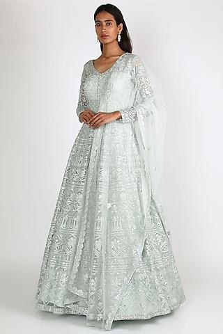Sky Blue Embroidered Jacket Lehenga Set by Aneesh Agarwaal