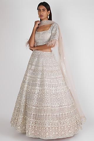 Beige Embroidered Lehenga Set by Aneesh Agarwaal