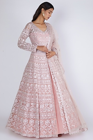 Blush Pink Embroidered Jacket Lehenga Set by Aneesh Agarwaal