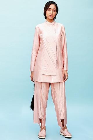 Peach Pleated Long Shirt by Antar Agni