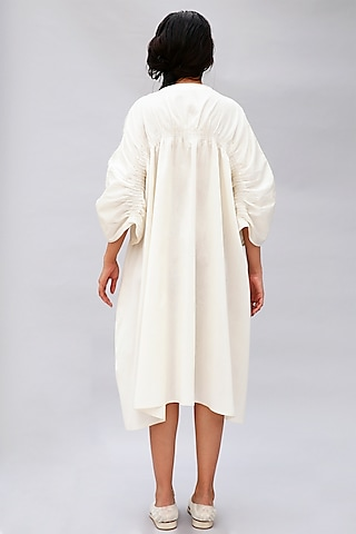 White Dress With Tucks by Antar Agni