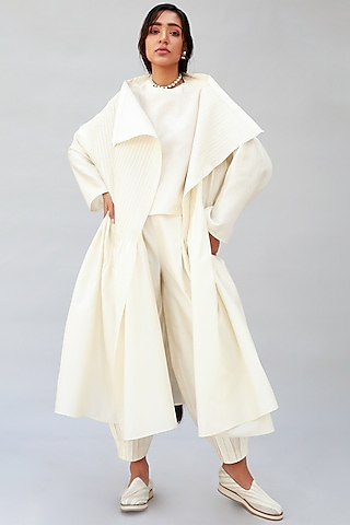 Ivory Dress With Tucks by Antar Agni