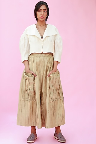 Yellow Anti Fit Trousers by Antar Agni