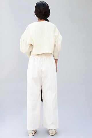 Ivory Gathered Top With Tucks by Antar Agni