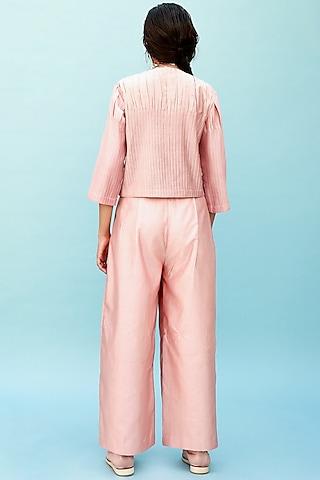 Peach Trousers With Tucks by Antar Agni