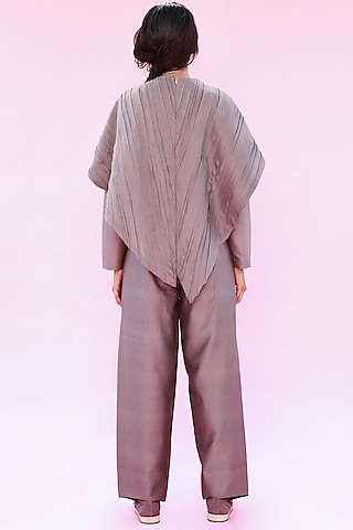 Grey Layered Top With Pleats by Antar Agni