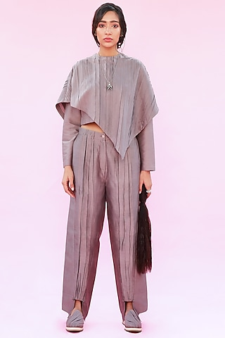 Grey Trousers With Front Slit by Antar Agni