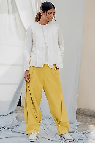 Ivory Top With Pleated Layers by Antar Agni