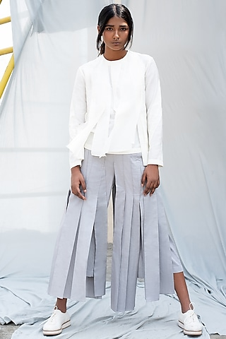 Light Grey Pleated Pants by Antar Agni