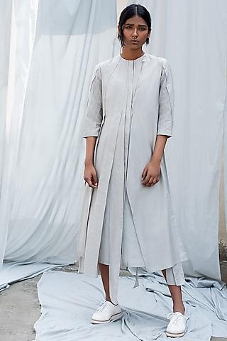 Light Grey Pleated Dress by Antar Agni