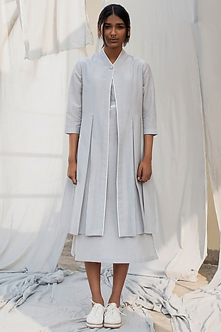 Light Grey Calf Length Dress by Antar Agni