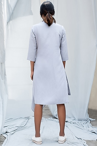 Light Grey Dress With Overlapping Layer by Antar Agni