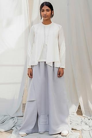 Light Grey Multi Layered Skirt by Antar Agni