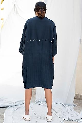 Navy Blue Anti-Fit Dress by Antar Agni