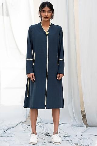 Navy Blue A-Line Dress by Antar Agni
