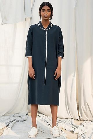 Navy Blue Box Pleated Dress by Antar Agni