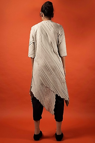Beige Asymmetric Overlapping Top by Antar Agni