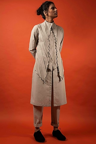 Beige Cotton Waistband Trousers by Antar Agni