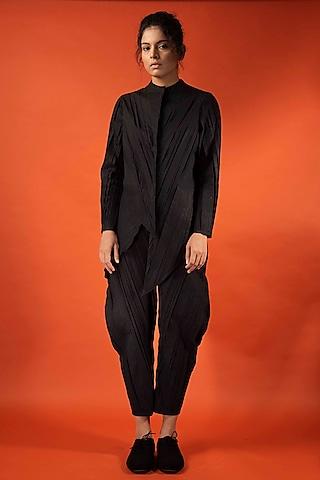Black Angular Pleated Shirt by Antar Agni