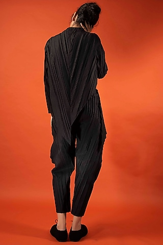 Black Pleated Cotton Trousers by Antar Agni