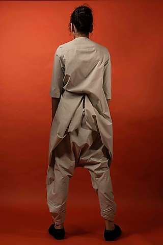 Beige Pleated Overlapping Jumpsuit by Antar Agni