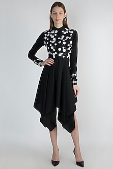 Black Embroidered Jacket Dress by Anand Bhushan