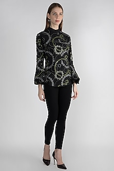 Black Embroidered Floral Shirt by Anand Bhushan