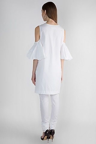 White Embroidered Kurta With Churidar Pants by Anand Bhushan