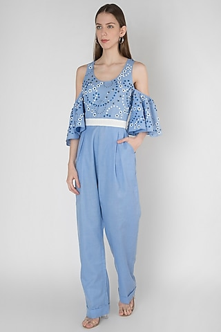 Blue Embroidered Jumpsuit by Anand Bhushan