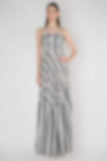 White & Blue Printed Embroidered Gown by Anand Bhushan