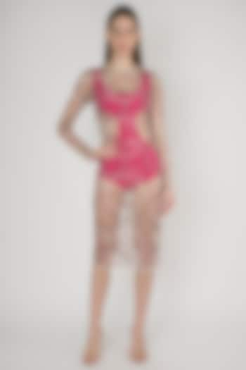 White Embroidered Sheer Dress With Pink Swimsuit Inner by Anand Bhushan