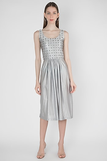 Silver Embroidered Dress by Anand Bhushan
