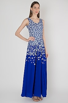 Blue Embroidered Dress by Anand Bhushan