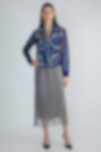 Blue Embroidered Mesh Jacket by Anand Bhushan