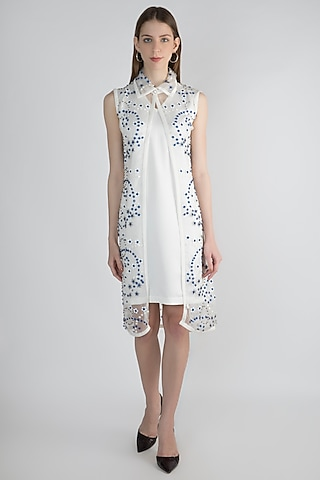 White Embroidered Jacket With Slip by Anand Bhushan