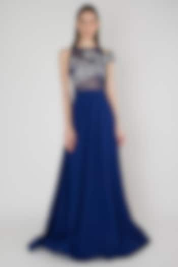 Blue Embroidered Mesh Gown by Anand Bhushan