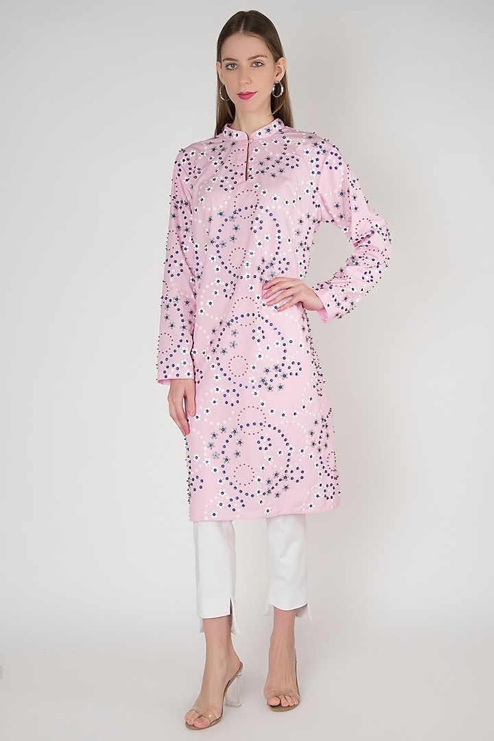 Pink Embroidered Kurta by Anand Bhushan