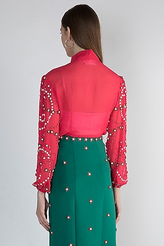 Pink Floral Embroidered Blouse by Anand Bhushan