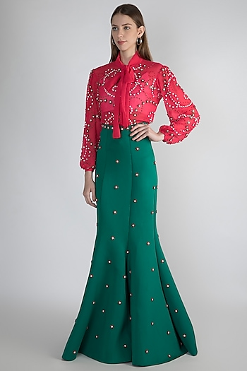 Green Embroidered Gown Skirt by Anand Bhushan