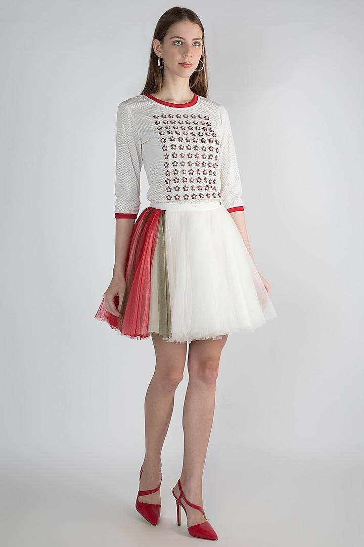 White Net & Neoprene Skirt by Anand Bhushan