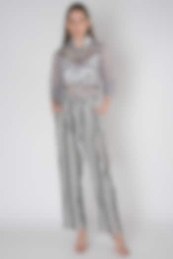 Grey Embroidered Mesh Jacket by Anand Bhushan