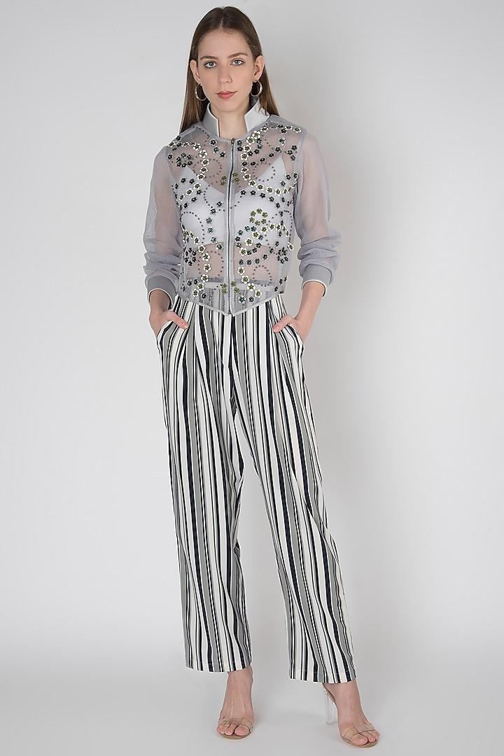 Grey Crepe Printed Pants by Anand Bhushan