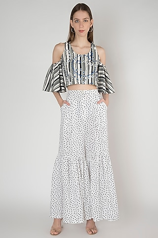 White Printed Crepe Pants by Anand Bhushan