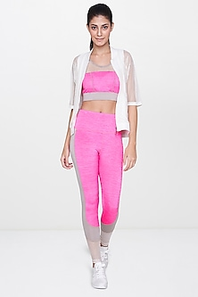 White Sheer Jacket With Pink Leggings by AND