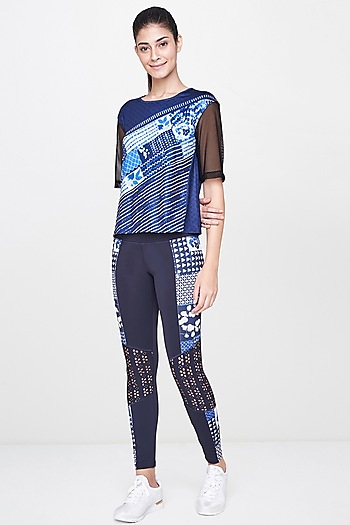 Navy Blue Printed T-Shirt With Leggings by AND
