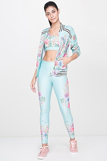 Mint Green Printed Bomber Jacket With Leggings by AND