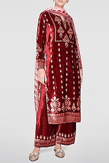 Crimson Red Embroidered & Printed Kurta Set by Anita Dongre