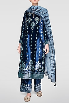 Blue Embroidered & Printed Kurta Set by Anita Dongre