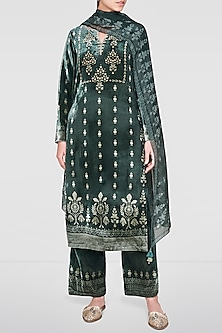 Sage Green Embroidered & Printed Kurta Set by Anita Dongre