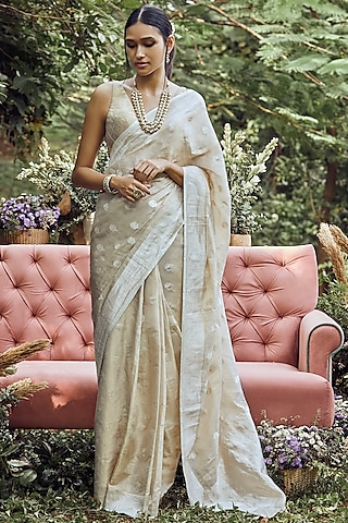 Gold Embroidered Silk Saree Set by Anita Dongre